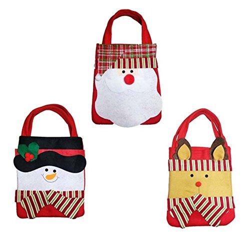 Da.Wa 3 Bonhomme de neige Père Noël Sacs-cadeaux Sacs-cadeaux sacs de Bonbons Décorations de Noël
