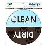 Dishwasher Clean Dirty Muddy Paw Prints - Circle