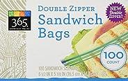 365 Everyday Value Double Zipper Storage Bags, Sandwich Size, 100 Count