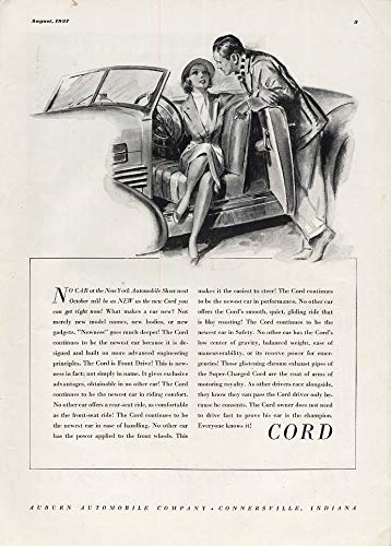 No car at the NY Automobile Show will be as new -Super-Charged Cord ad 1937 ESQ -