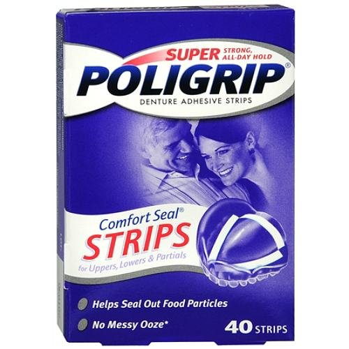 Super PoliGrip Denture Adhesive, Comfort Seal Strips 40 ea (Pack of 3) ()