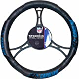 DH 15 X 15 Inches NFL Panthers Steering Wheel Cover, Football Themed Three Sides Team Logo Name Rubber Grip Sports Patterned, Team Logo Fan Merchandise Athletic Team Spirit Fan, Black Blue Black, Pvc