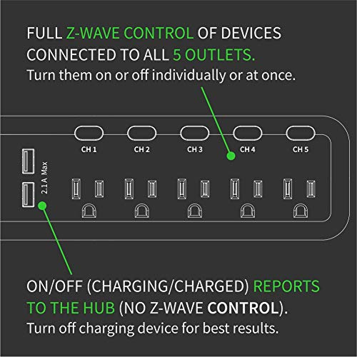 Zooz Z-Wave Plus S2 Power Strip ZEN20 VER. 2.0 with Energy Monitoring and 2 USB Ports, Works with Vera, Wink, SmartThings by ZOOZ (Image #4)