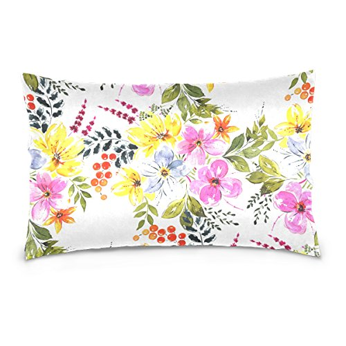 Pillow Bouquet Top (Top Carpenter Bright Floral Bouquets Velvet Oblong Lumbar Plush Throw Pillow Cover/Shams Cushion Case - 20x36in - Decorative Invisible Zipper Design for Couch Sofa Pillowcase Only)