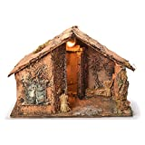 Holyart Wooden cabin with mirror, Neapolitan Nativity 45x56x45cm