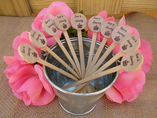 - Wooden Drink Stirrers for Wedding, Reception, Bridal Shower, Special Event - Coffee, Tea Stirrer, Love is Brewing - Set of 25 - Item 1596