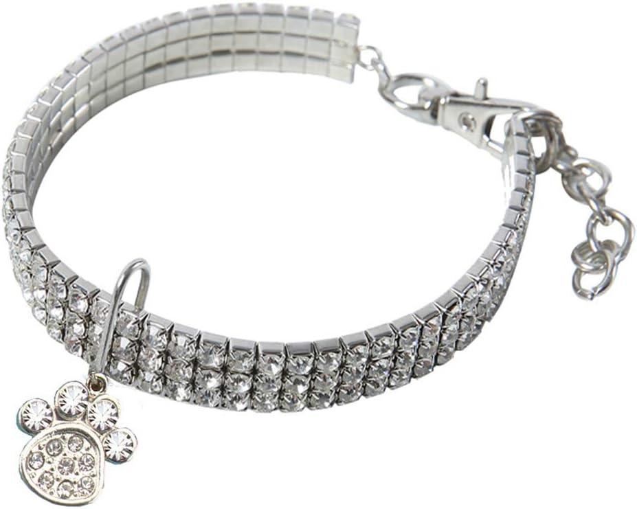 AKlamater Collar de cristal de gato, collar de diamantes de imitación de gatito con colgante de pata para decoración navideña de perro pequeño gato (blanco-S)