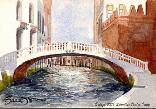 Watercolor painting in Venice, Italy - Giclee Print of Original plein air watercolor - Bridge With Spindles, Venice, Italy