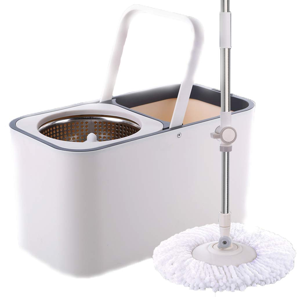 SDBT LT Udisposable Flat Mop Double-Drive Wet and Dry Mop Bucket Rotary Mop Automatic Hand-Free Wash Bucket Topological Mop Reinforcement Rod + Plastic Tray,Flesh