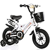 DUWEN Children's Bicycle 18/16 /14/12 Inch 2-3-6-8 Year Old Girl Boy Luxury Pearl White + Flash Wheel + Plastic Basket + Gift Pack (Size : 18 Inch)