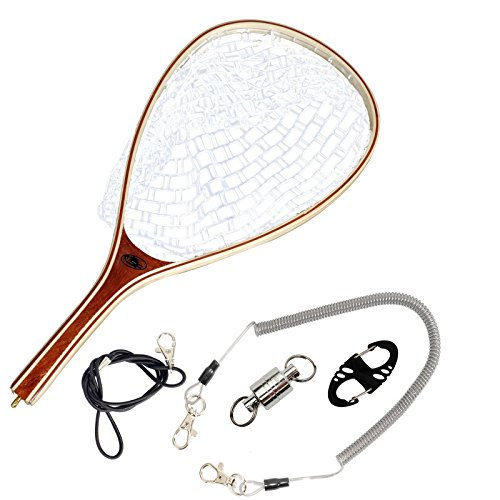 SF Fly Fishing Landing Soft Silicone Rubber Mesh Trout Catch and Release Net with Black Magnetic Net Release Combo Kit