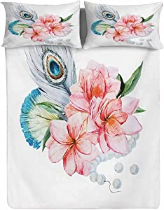 Hiiiman Fitted Sheet Twin Size,Watercolor Style Peony Anemone Flowers Peacock Feather and Beads Artful Image Decorative Printed 2 Piece Bedding Decor Set,Elasticized Deep Pocket Fits All Mattresses