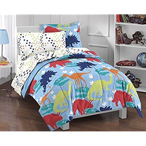 dream factory dinosaur prints boys comforter set multi colored twin - Boy Bedding
