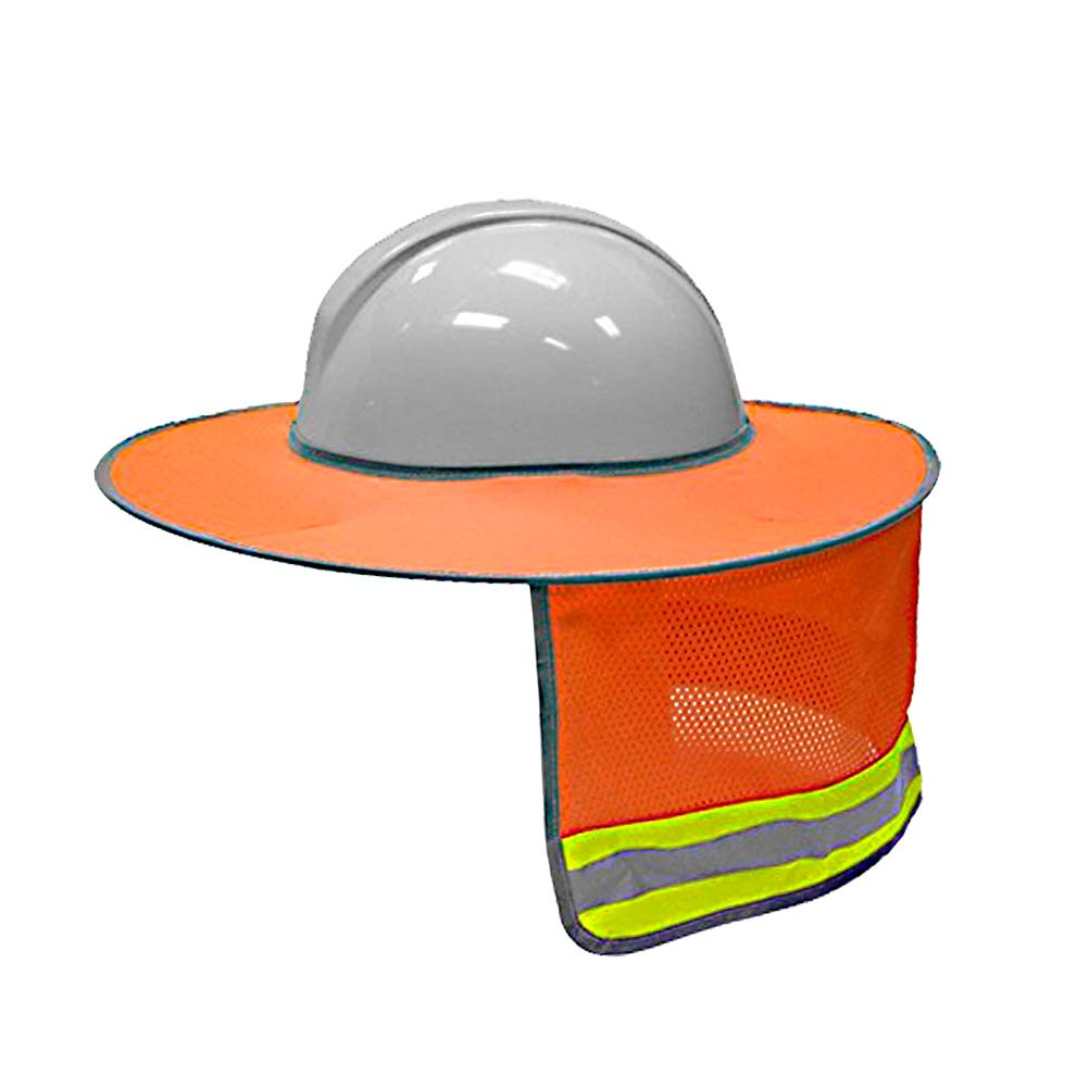 Hard Hat Sun Shield - Full Brim Mesh Neck Sun Shade Protector - High Visibility,Reflective (Hard Hat Not Included) by Tiction (20, Orange)