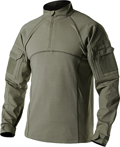 CQR CQ-TOS201-GRN_X-Large Men's Combat Shirt Tactical 1/4 Zip Assault Military Top Camo EDC TOS201