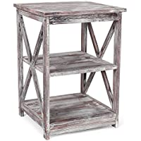 MyGift Rustic Torched Wood End Table with 2 Shelves