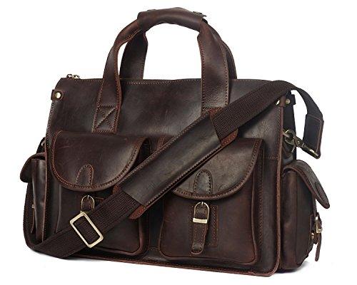 Retro Men's Shoulder Brown Top Leather Bag Laptop Horseskin Crazy Messenger Handbag Layer AErwEqvZ