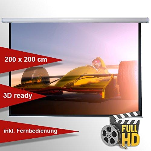ivolum Motorleinwand 200 x 200cm,Leinwand Format 1:1, Heimkino Leinwand, Beamerleinwand, 3D Leinwand, elektrische Leinwand, Full HD Leinwand