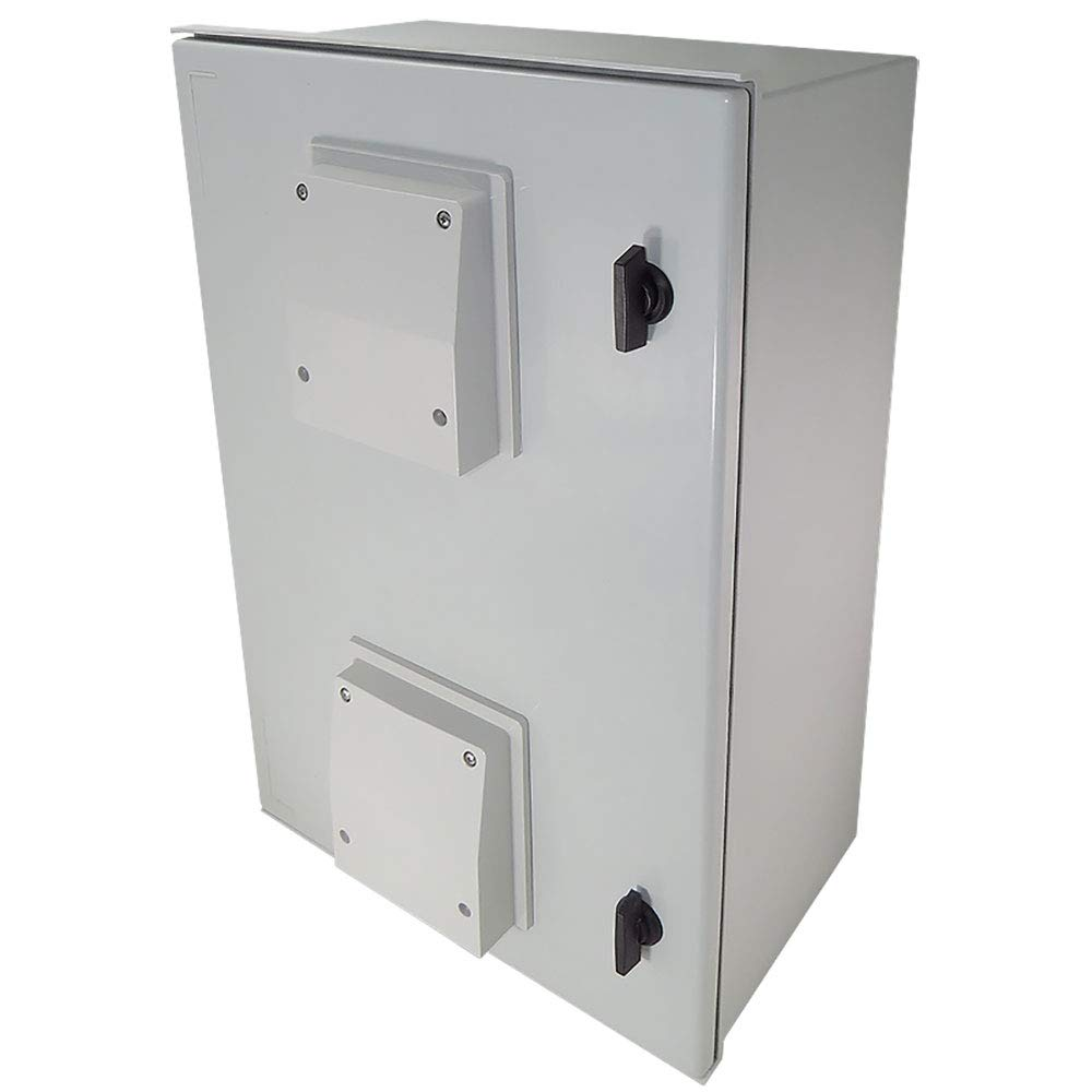 Altelix 24x16x9 Vented FRP Fiberglass NEMA Weatherproof Enclosure with Hinged Lid & Quarter-Turn Latches