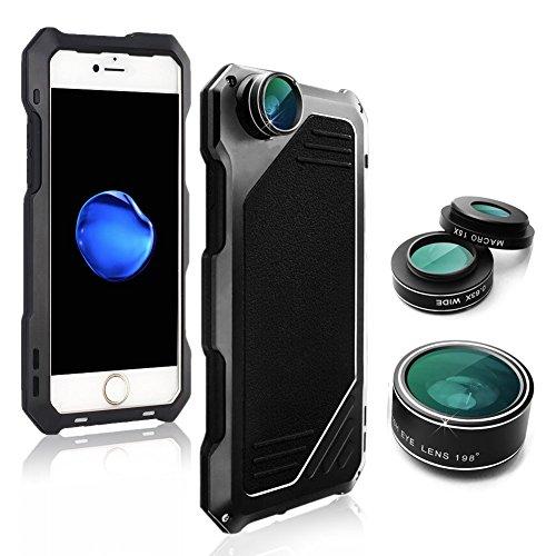 - MMRM Shockproof Metal Case Camera Lens Hybrid for iPhone 7 Plus/iPhone 8 Plus (Black)