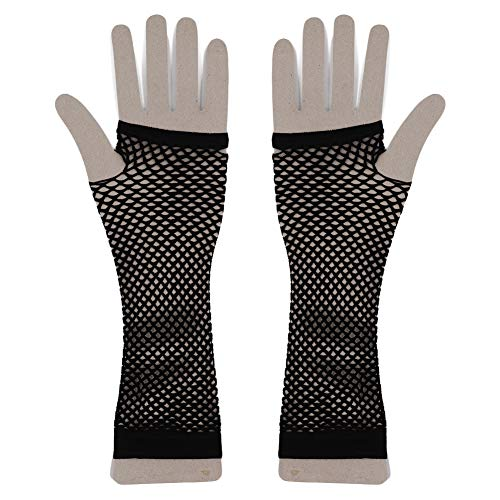 (PYD Women Elbow Length Fingerless Fishnet Elastic Mesh Gloves Black Fishnet Gloves Fancy Dress)