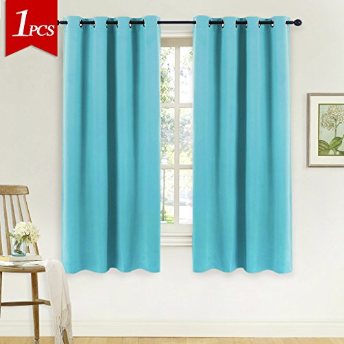 NICETOWN Blackout Shades for Bedroom Windows - (Turquoise Blue Color) Thermal Insultaed Window Treatment Curtain Drape, Room Darkening Modern Drapery for Boy's Room by, 52x63-Inch,One Panel (For Bedroom Sale Curtains)