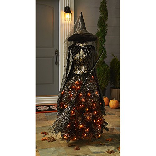Members Mark 5 foot Pre-Lit Halloween Witch Dress Form Tree - Halloween Christmas Trees