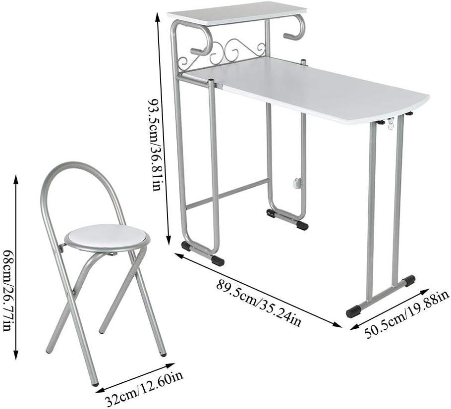 Pissente Ensemble de 1 Table et 2 Chaises Pliable Table de Repas M/étallique Chaise /à Manger avec Dossier en M/étal Int/érieur pour Dortoir Chambre Salle /à Manger