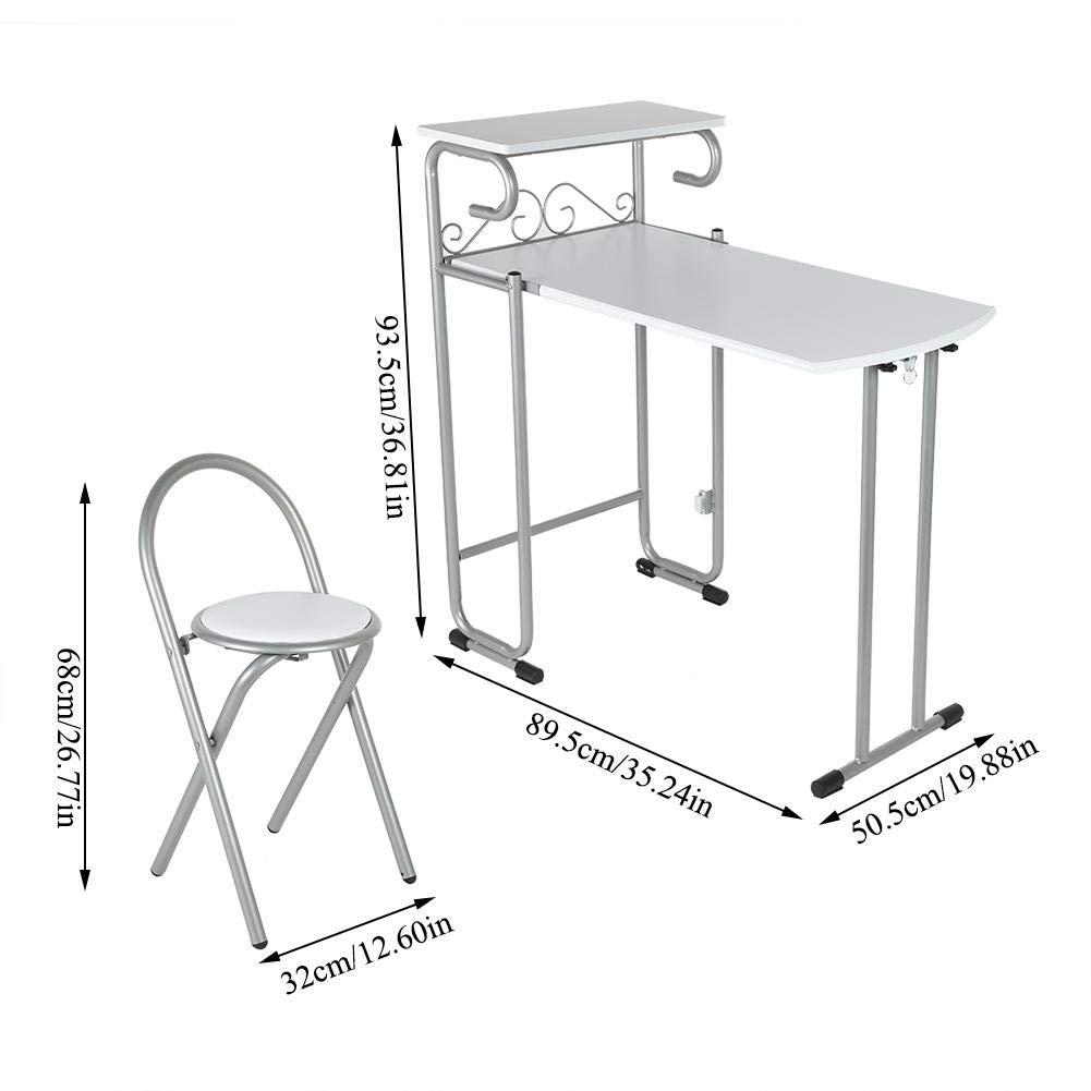 Zoternen Ensemble Table de Salle /à Manger Pliable et 2 chaises de Cuisine avec /étag/ère de Rangement pour Cuisine et Restaurant
