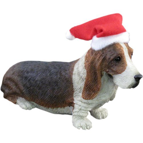 Basset Hound Christmas - Sandicast Basset Hound with Santa Hat Christmas Ornament