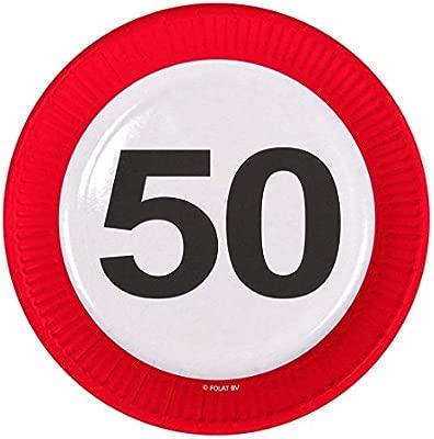 NET TOYS Plato 50 cumpleaños señal de tráfico 23 cm Vajilla de Fiesta de Papel Plato de Fiesta Platos Servir Adulto Bandeja para Grill Servicio de ...