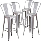 Bar Stool Outdoor Flash Furniture Metal Indoor/Outdoor Barstool (4 Pack), 30