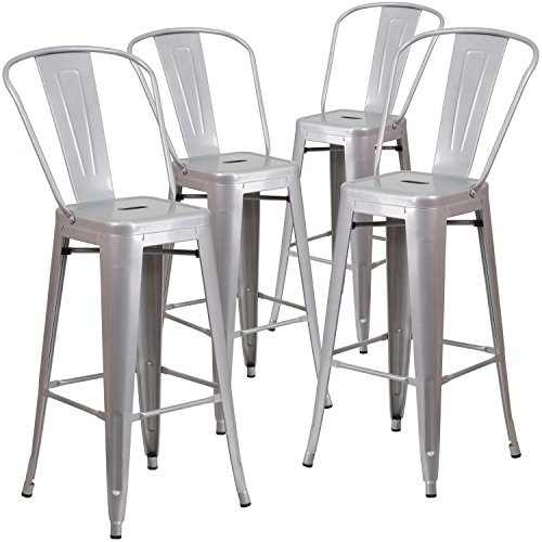 Flash Furniture 4 Pk. 30 High Silver Metal Indoor-Outdoor Barstool with Back
