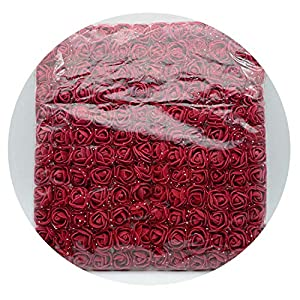 ALWAYS ME 144Pcs/Bag Mini Fake Foam Rose Artificial Flowers Christmas Wreath Decor for Home Wedding New Year,Dark Red 39