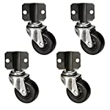 Side Mount Plate Swivel Casters - 2'' Soft Rubber Wheel - Set of 4