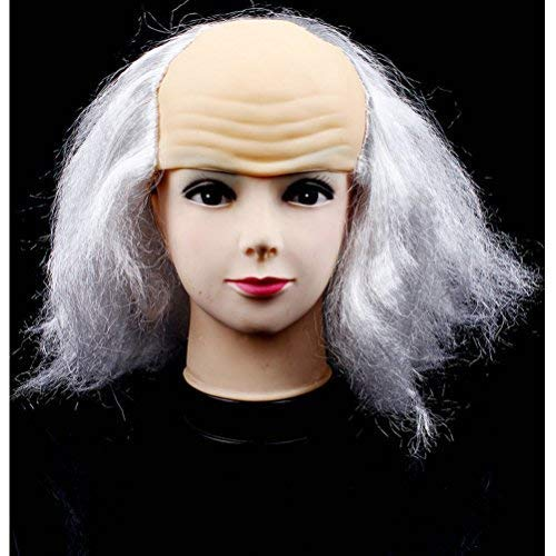 BERON Bald Head Wigs for Halloween Costume (White)