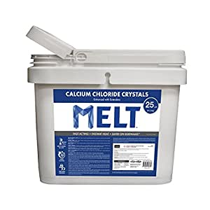 Snow Joe MELT25CC-BKT 25 lb Flip-Top Bucket with Scoop Professional Strength Calcium Chloride Ice Melt