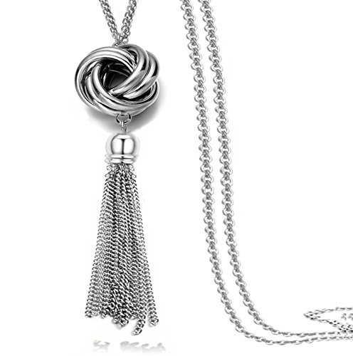 Multi Link Tassel End Statement Y Necklace Knot Snake Chain Neck Pendant for Lady
