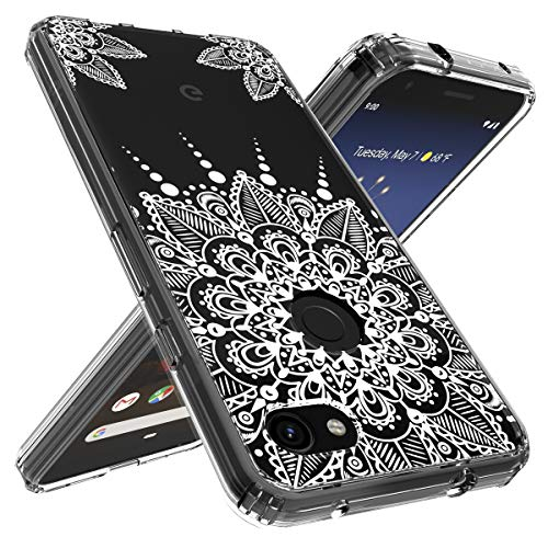 Google Pixel 3a Case, OUBA [Shock Absorbing] Anti-Scratch Shockproof Floral Lace Clear Slim Design Printed Hard Plastic + TPU Gel Bumper Protective Cover Case for Google Pixel 3a