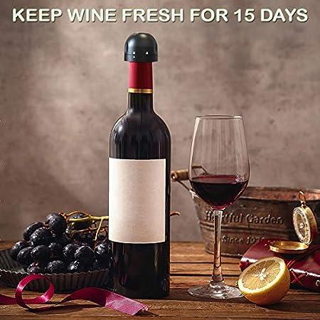 Feizhen Tapones de Botella para Champán/vino,Tapón de Vine Vacío para Colección Reutilizables Bomba de Vacío de Corcho Amantes del Vino.