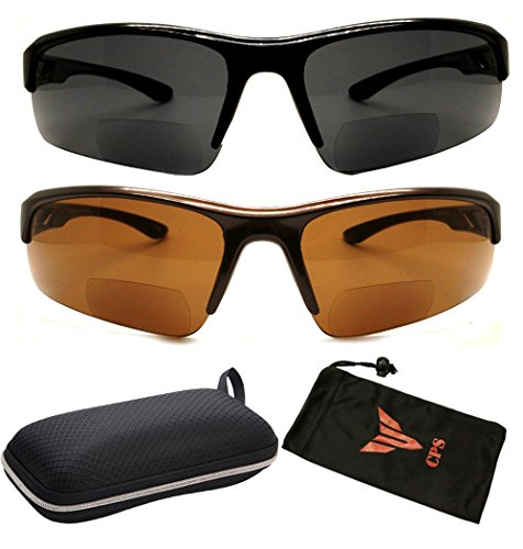 2 Pack Bifocal Reading Lens Sport Safety Fly Fishing Outdoor Glasses UV Protection Sun Readers Strength ()