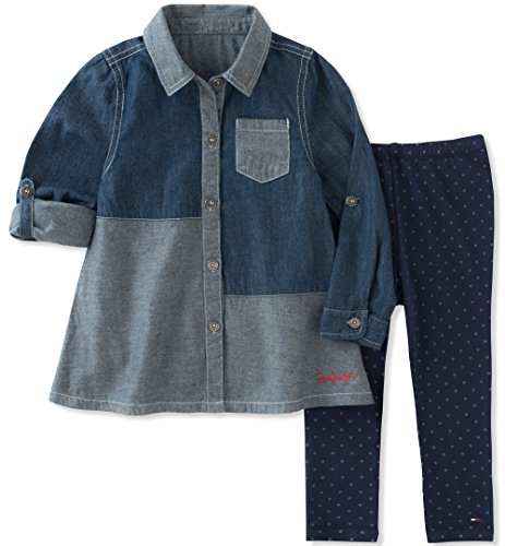 Tommy Hilfiger Girls' Toddler Tunic Legging Set, Light Dark Blue, 6X (Tommy Hilfiger Tunic)