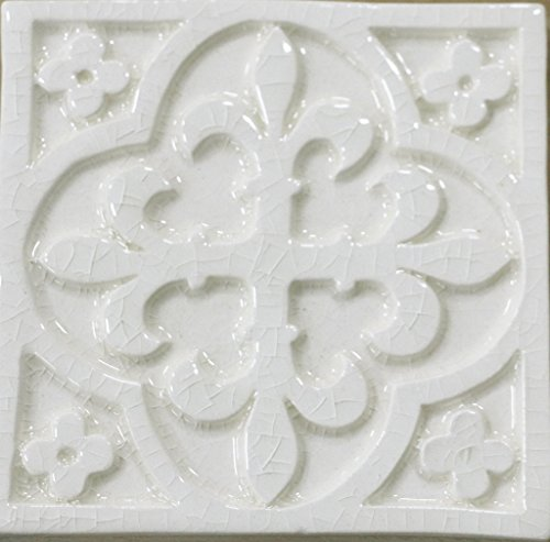 Waterworks Archive Decorative Field Tile 4 x 4 in Off White Glossy Crackle by Water Works (Image #1)
