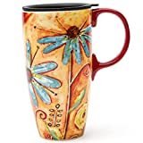 CEDAR HOME Travel Coffee Ceramic Mug Porcelain Latte Tea Cup With Lid 17oz. Orange Flower