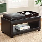 Two Seat Furniture of America Elyn Espresso Leatherette Flip Top Storage Ottoman Bench