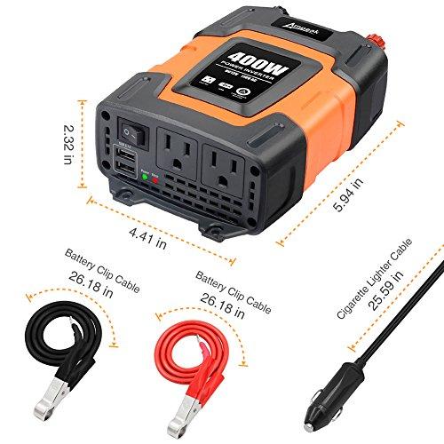 Ampeak 400W Power Inverter DC 12V to 110V AC Car Inverter with 3.1A Dual USB Converter by Ampeak (Image #5)
