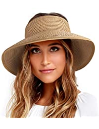 Sun Visor Hats for Women Wide Brim Straw Roll Up Ponytail Summer Beach Hat UV UPF 50 Packable Foldable Travel
