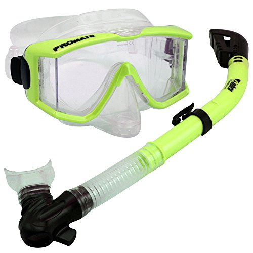 (Snorkeling Scuba Dive DRY Snorkel Side-View Purge Mask Diving Gear, n.Yellow)
