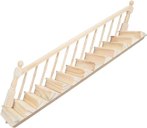 Toyvian - Escalera con Mano Derecha en Miniatura, Escalera preensamblada para Muebles, Modelo de Juguete, Bricolaje, casa de muñecas o Oficina, decoración de la casa: Amazon.es: Hogar