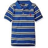 U.S. Polo Assn. Little Boys' Short Sleeve Yarn Dye Pique, Cobalt Heather, 5/6